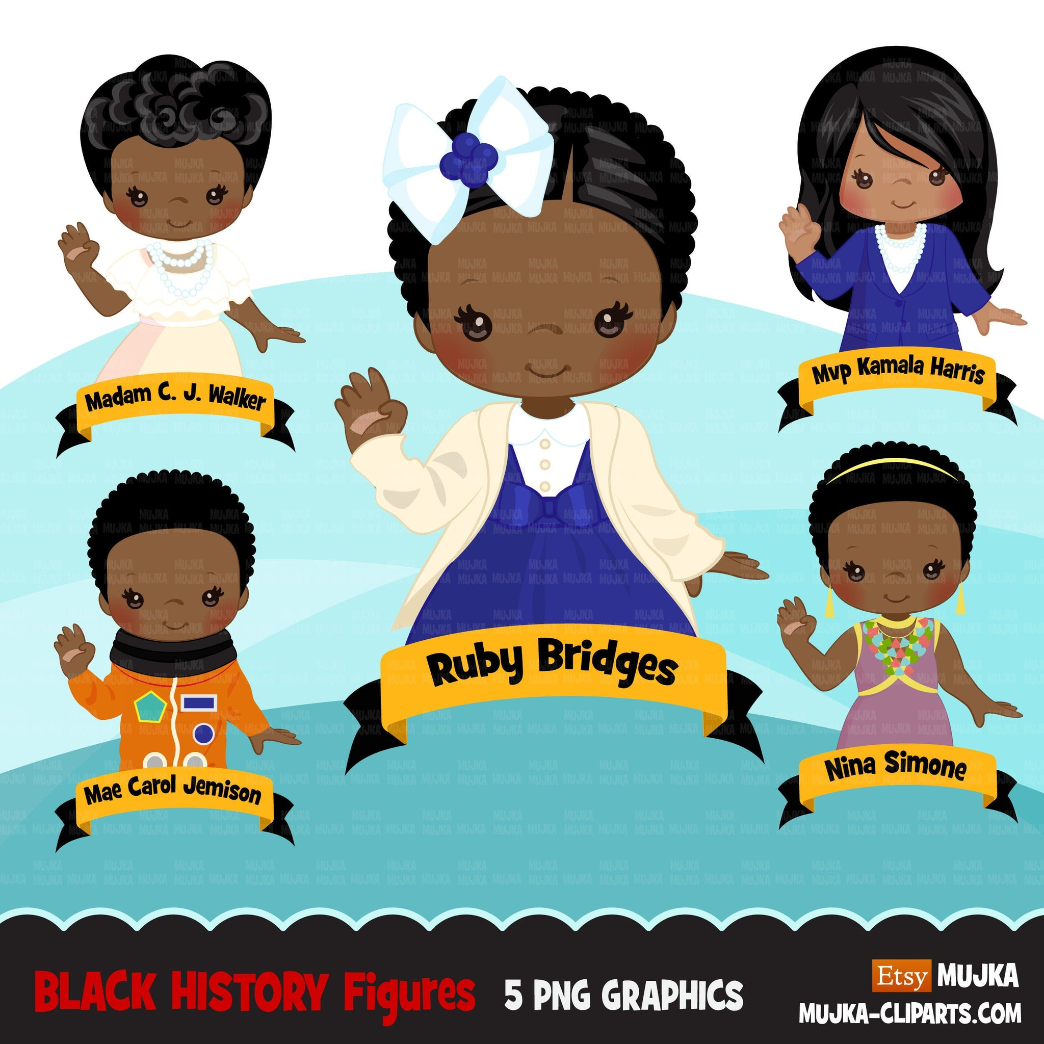 Black history clipart, black history female figures Kamala Harris, Nina Simone, Ruby Bridges, Mae Jemison, Madam c j walker  clip art PNG