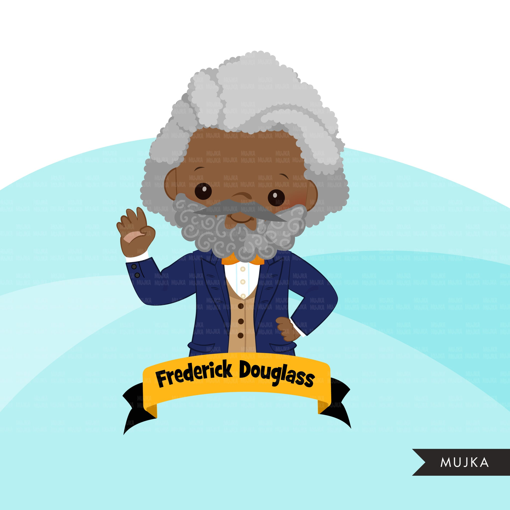 Black history clipart, black history male figures Frederick Douglass, Barack Obama, George Washington Carver, Thurgood Marshall clip art PNG