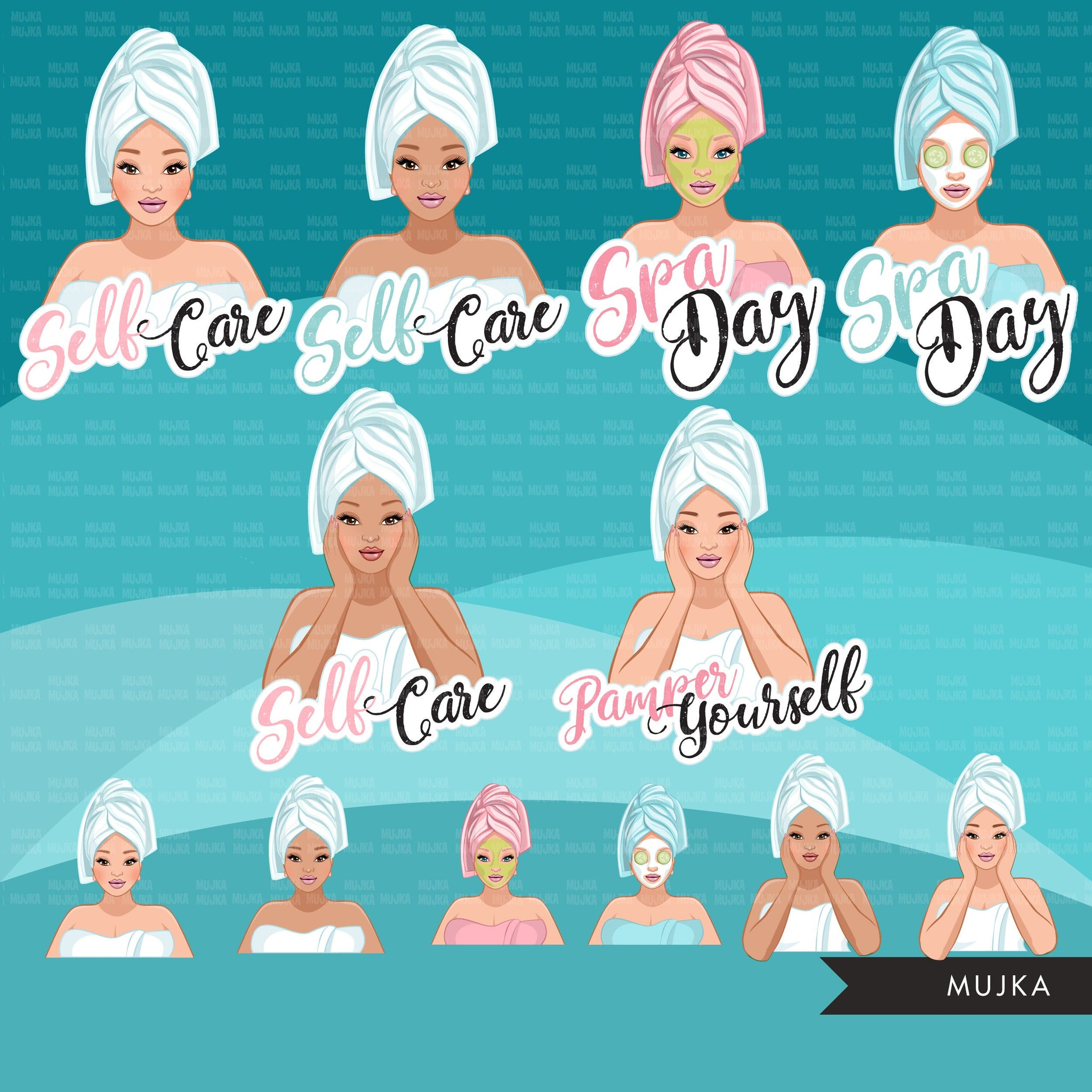 Spa Clipart, self care graphics, spa fashion woman, sisters, friends, Sublimation designs for Cricut & Cameo, commercial use PNG