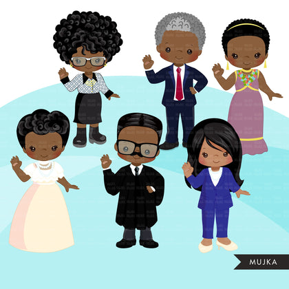 Black history figures clipart, Malcolm X, Kamala Harris, Barack Obama, Ruby Bridges, Mae Jemison, Shirley Chisholm  clip art PNG