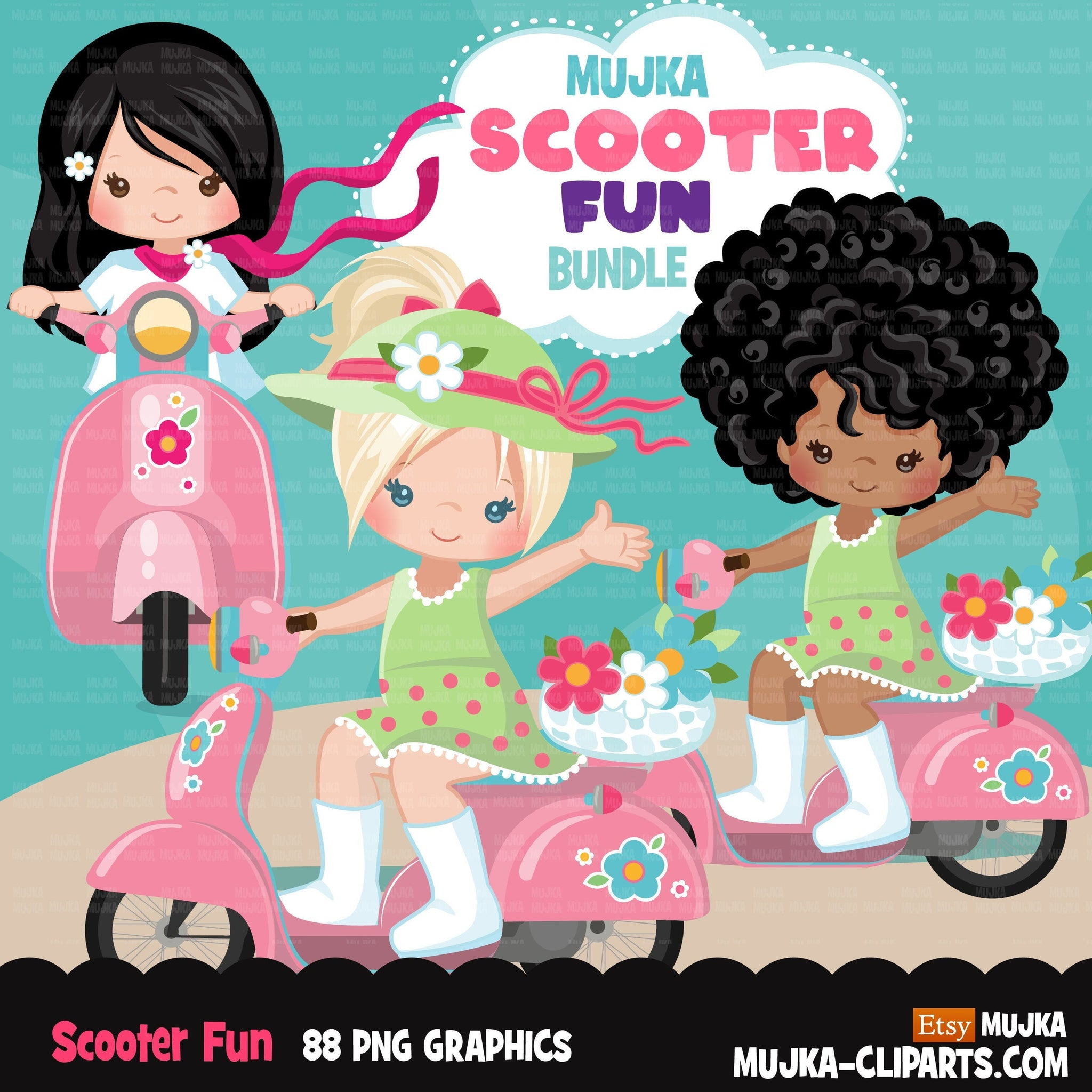 Best friends clipart bundle, Scooter Girls, Spring Png, Valentine gifts, siblings, sublimation graphics, pink scooter png clip art