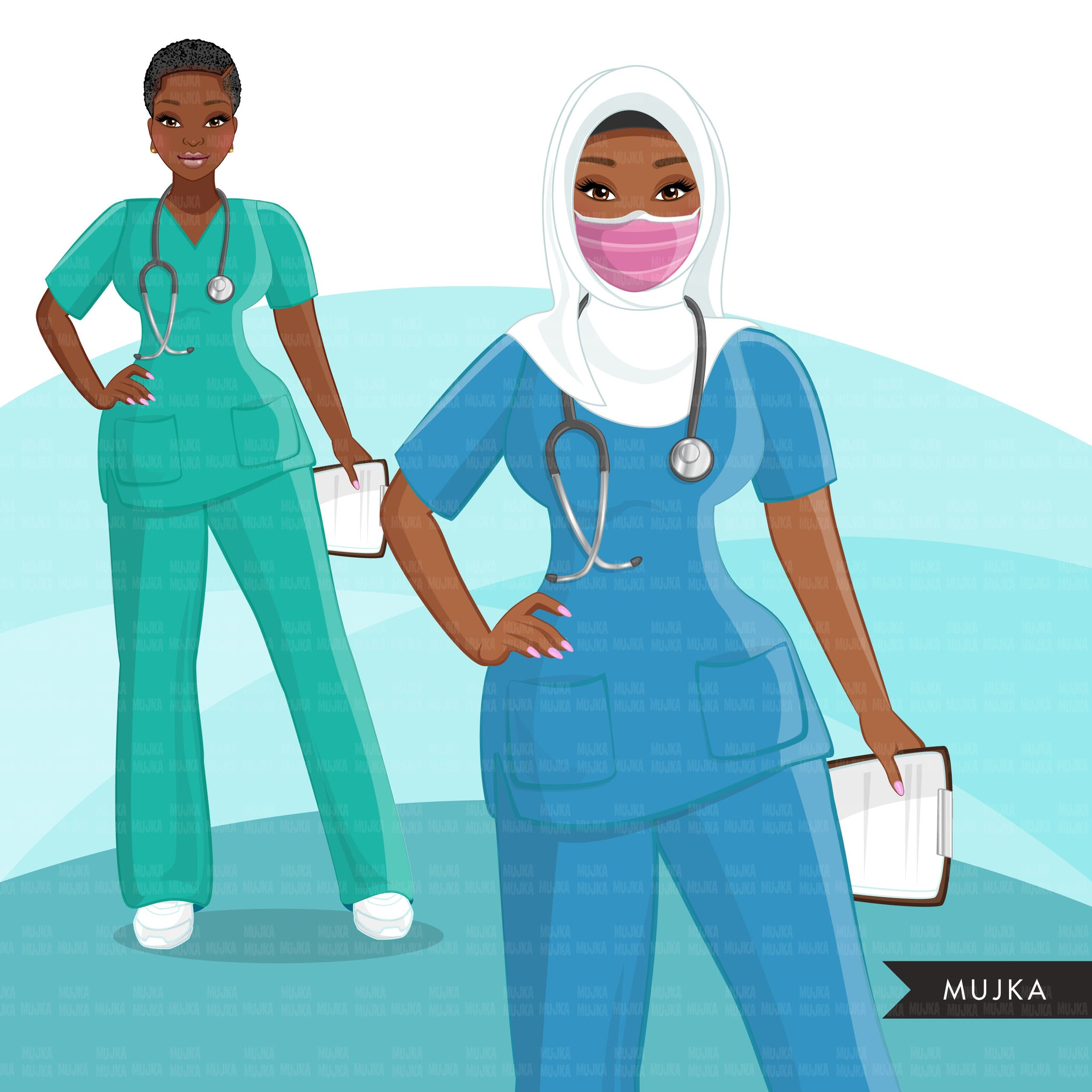 Nurse clipart BUNDLE, Nurse Life, Nurse Mom, medical workers, friends, muslim black nurse, Sublimation clipart, commercial use PNG