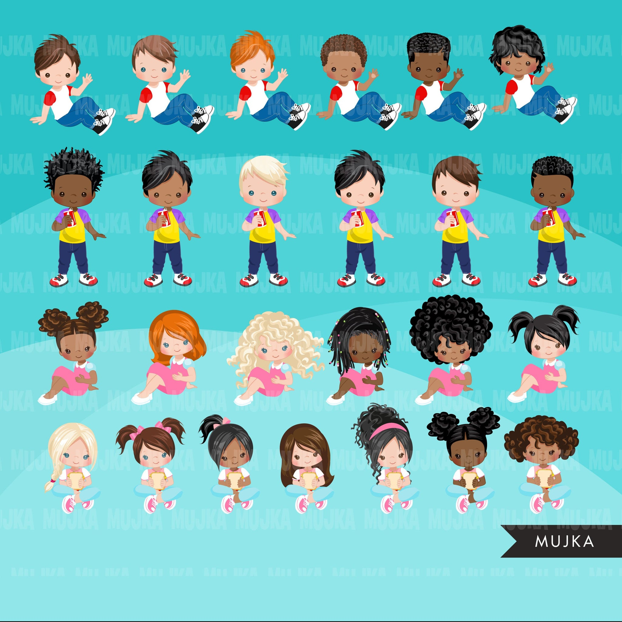 Picnic Clipart Bundle, Best friends clipart, spring graphics, sublimation png, black girl, black boy, birthday party