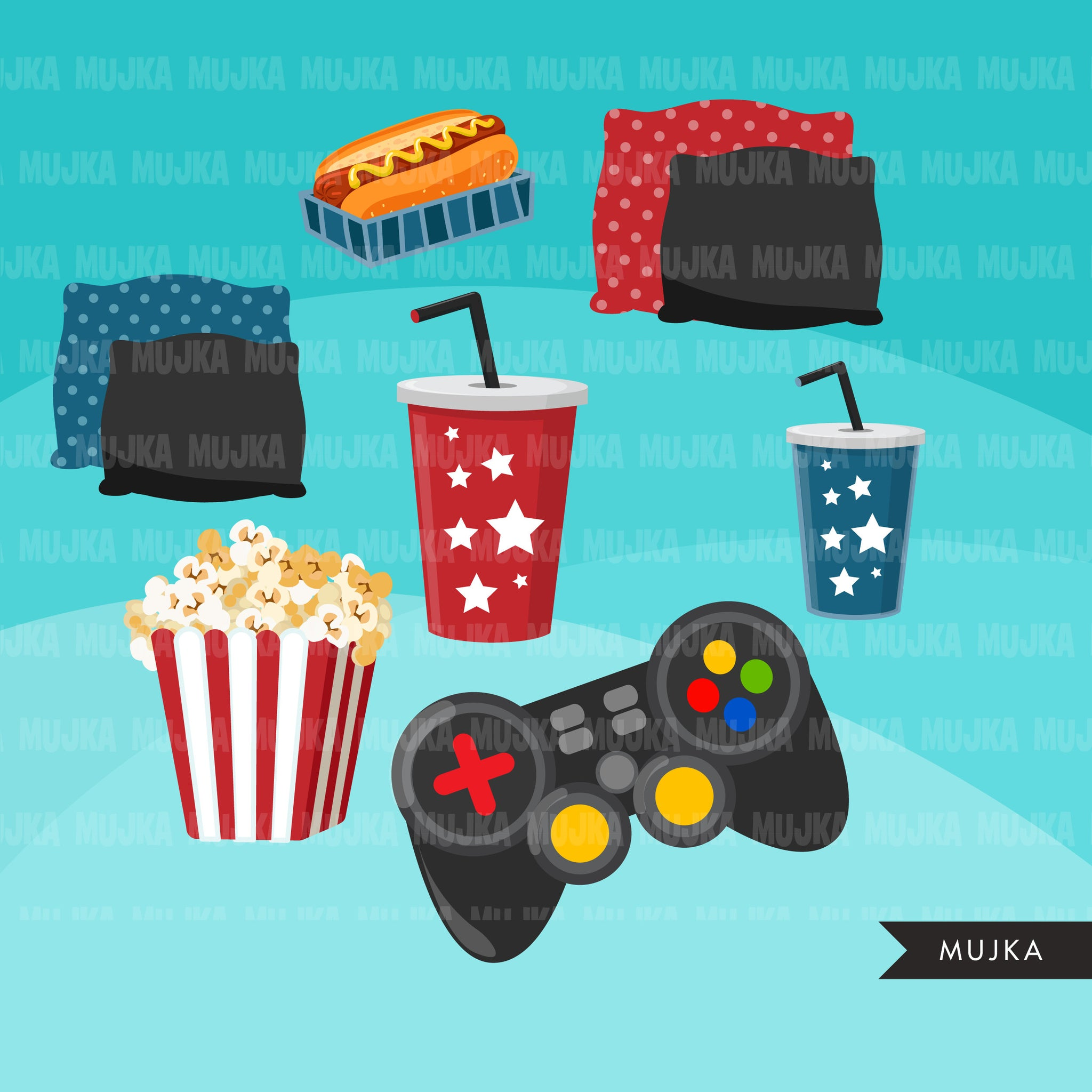 Video game clipart bundle, Gamer boys, gamer Girls, house party, game night birthday, popcorn hotdog png afro girl clip art