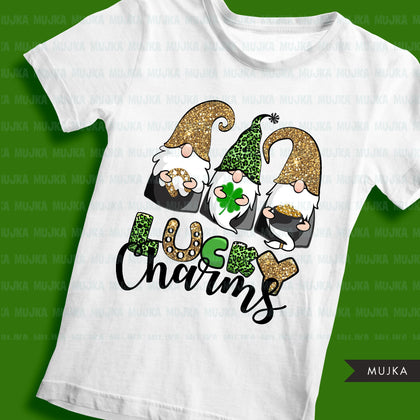 St Patricks Day Gnome sublimation designs, png sublimation shirt design, lucky charms, leopard pattern, digital download files for cricut