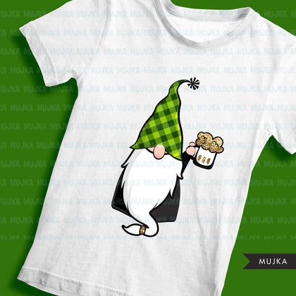 St Patricks Day Gnome sublimation designs, gnome png, png shirt design, lucky plaid pattern, digital download files for cricut