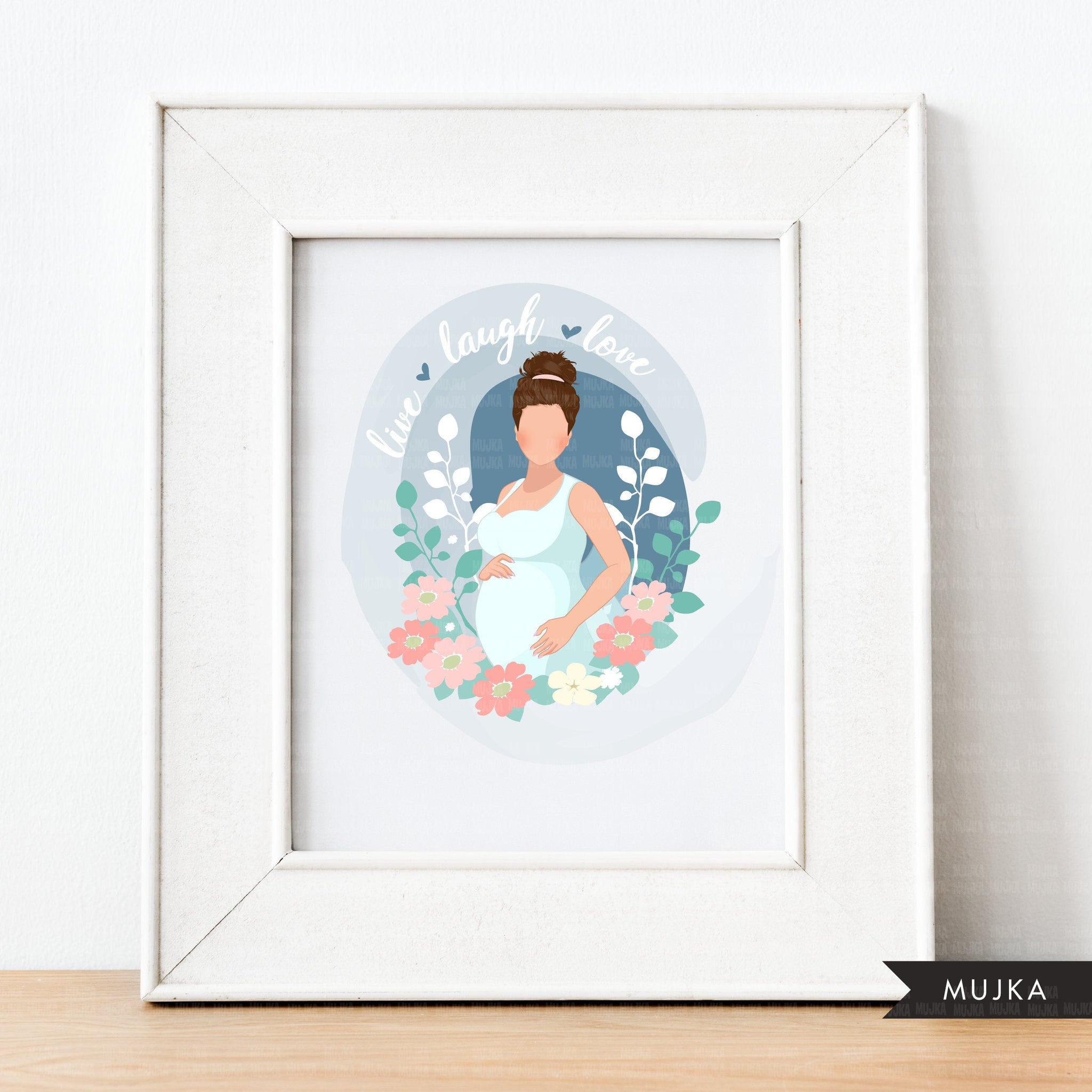 Mothers Day clipart, mother's day sublimation designs digital download, pregnancy, baby shower favors, wall art, pregnant brunette woman png