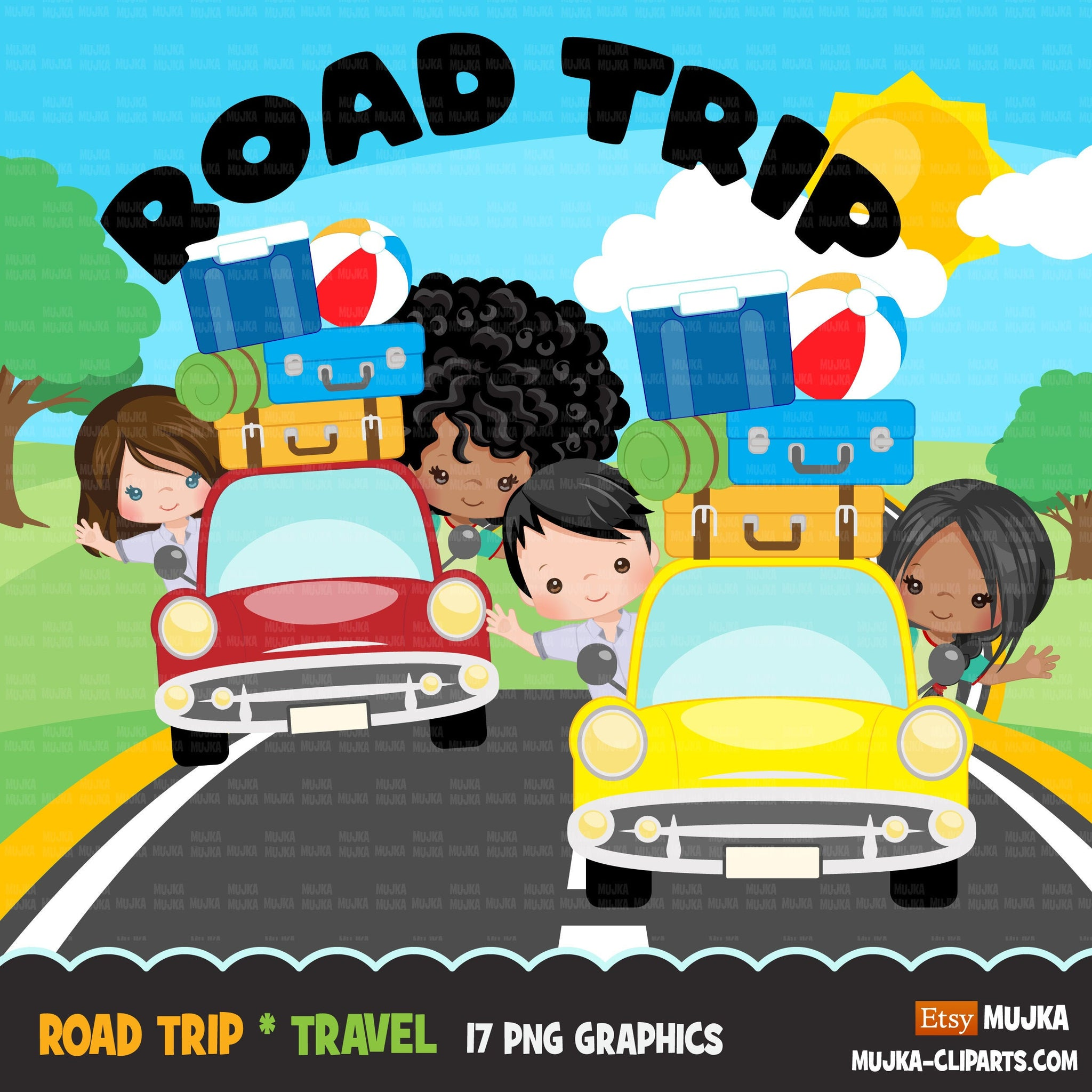 Road Trip Clipart, vacation clipart, best friends, traveling boy & girl, teacher clipart, commercial use  sublimation clip art PNG