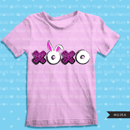 Easter sublimation designs, Easter xoxo clipart, Easter bunny shirt design, pink leopard print, PNG digital download files for cricut