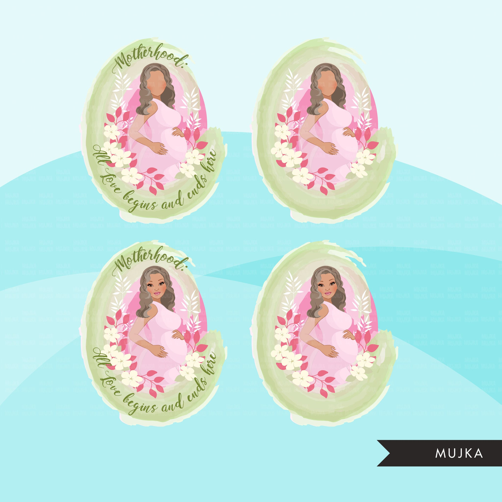 Mothers Day clipart, mother's day sublimation designs digital download, baby shower favors, wall art, pregnant Latino woman png