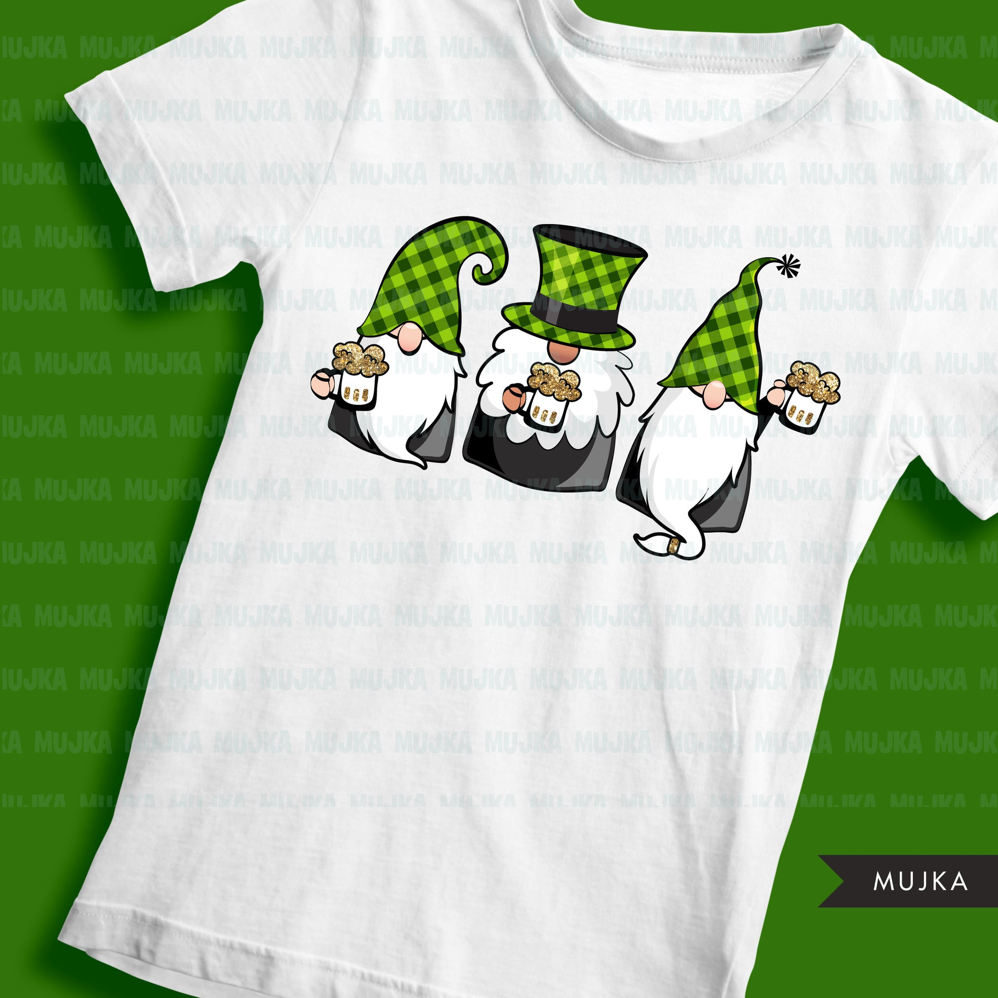 St Patricks Day Gnome sublimation designs, png shirt design, chillin with my gnomies, plaid pattern, digital download files for cricut