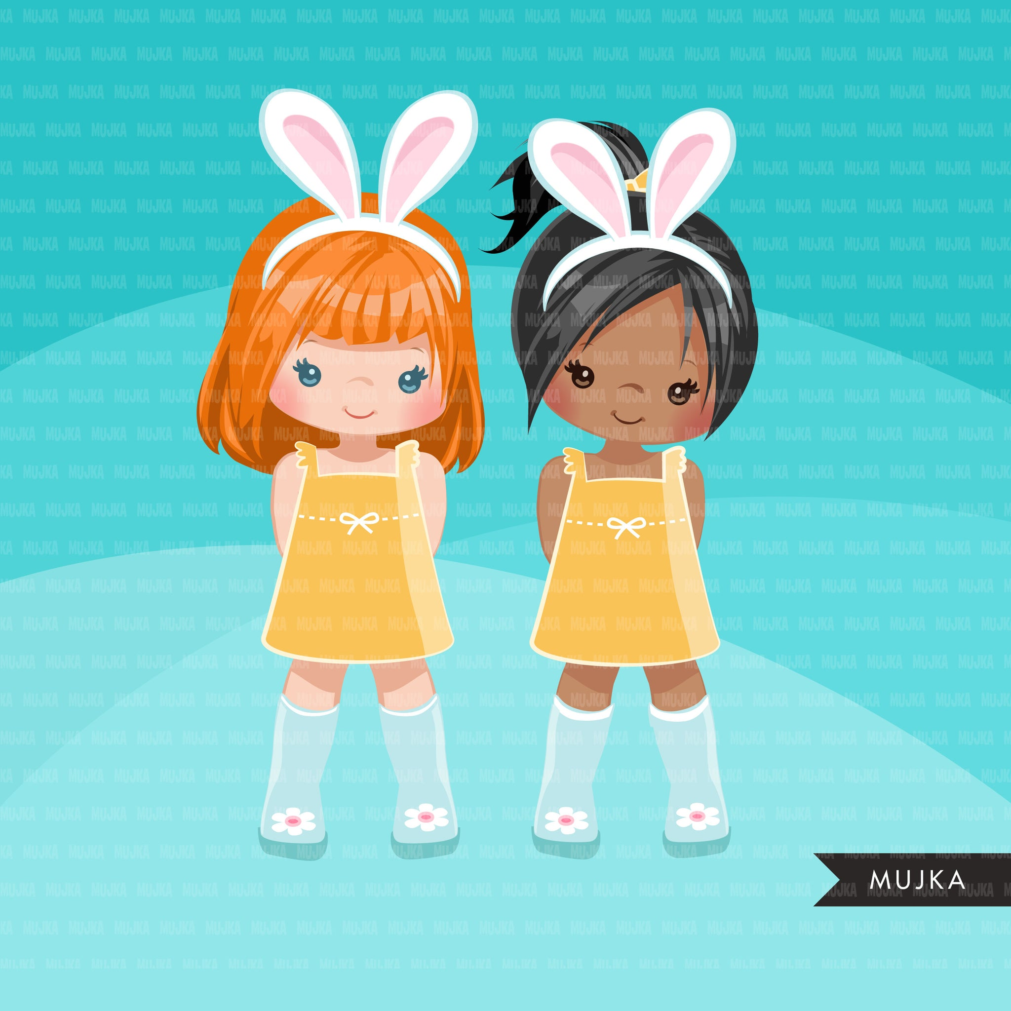 Easter clipart bundle, Best friends designs, easter bunny ears, black girl, afro girl, spring graphics