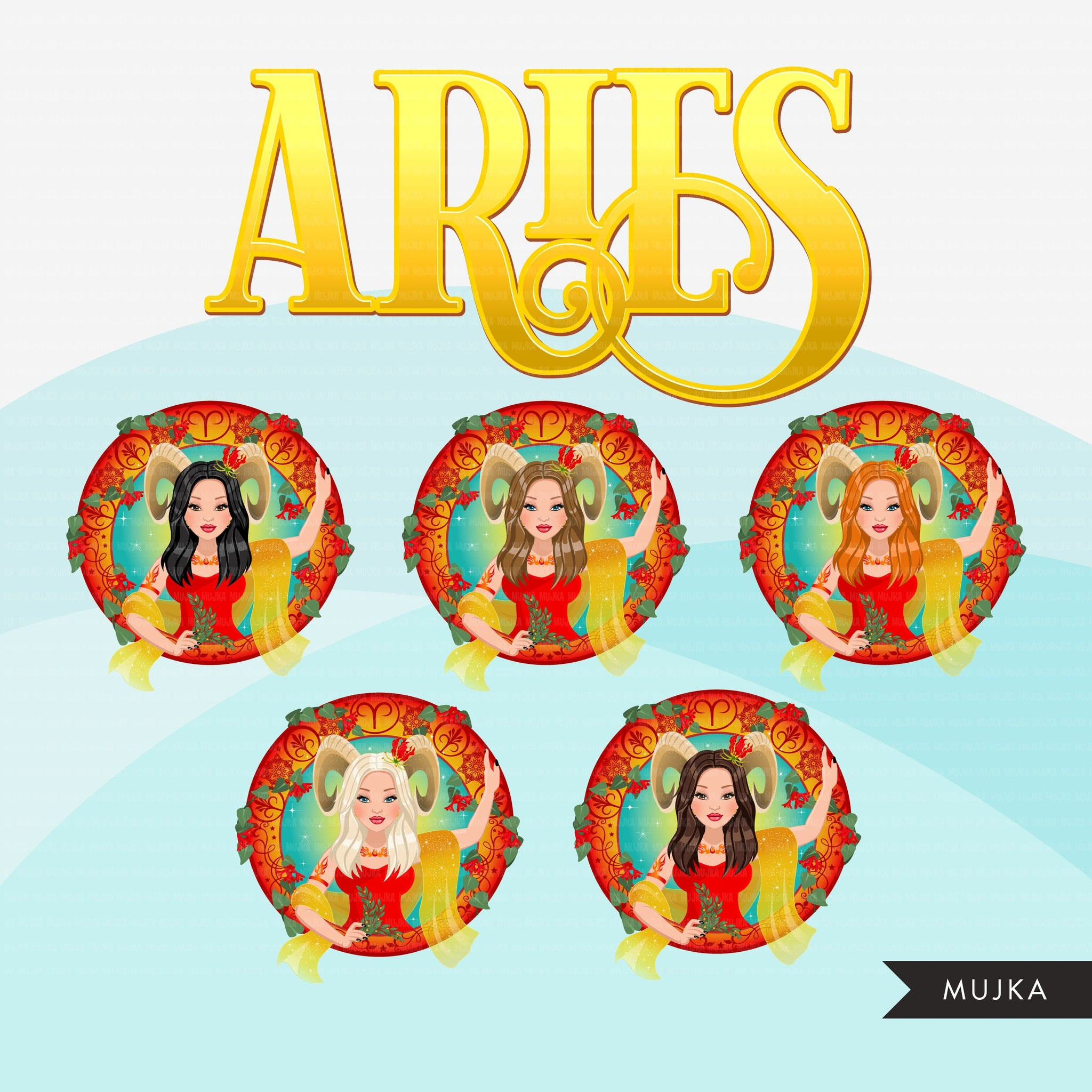 Zodiac Signs, ARIES Clipart BUNDLE, Astrology designs, Horoscope graphics, sublimation designs digital download,  Png for Cricut & Cameo