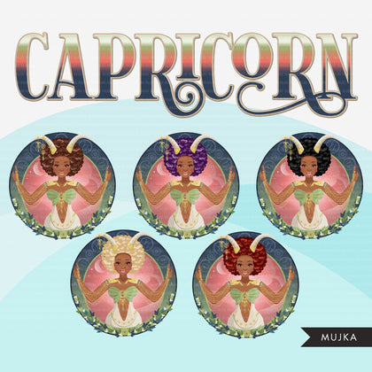 Zodiac Signs, CAPRICORN Clipart BUNDLE, Astrology designs, Horoscope graphics, sublimation designs digital download, Png for Cricut & Cameo