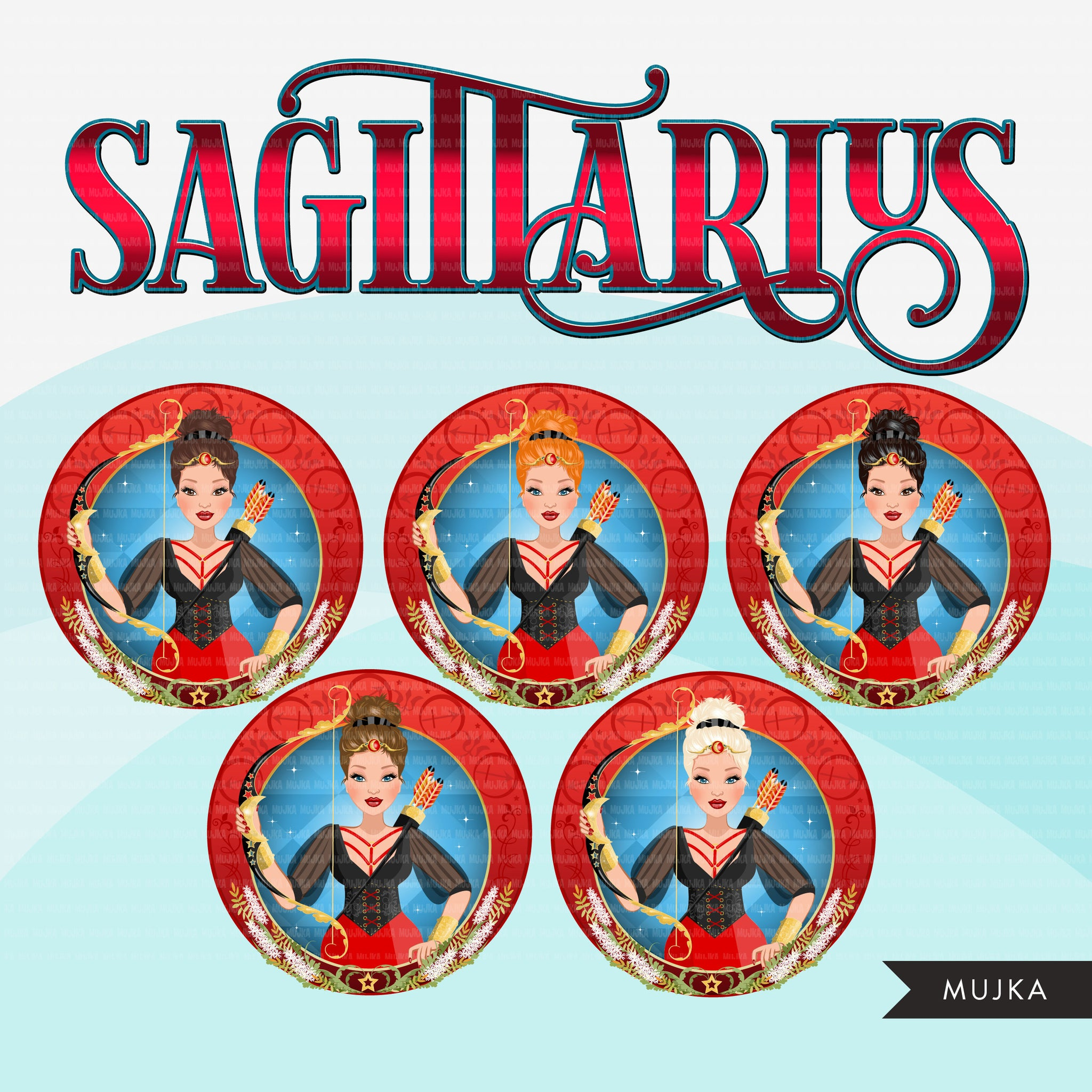 Zodiac Sign, SAGITTARIUS Clipart BUNDLE, Astrology designs, Horoscope graphics, sublimation designs digital Png for Cricut & Cameo