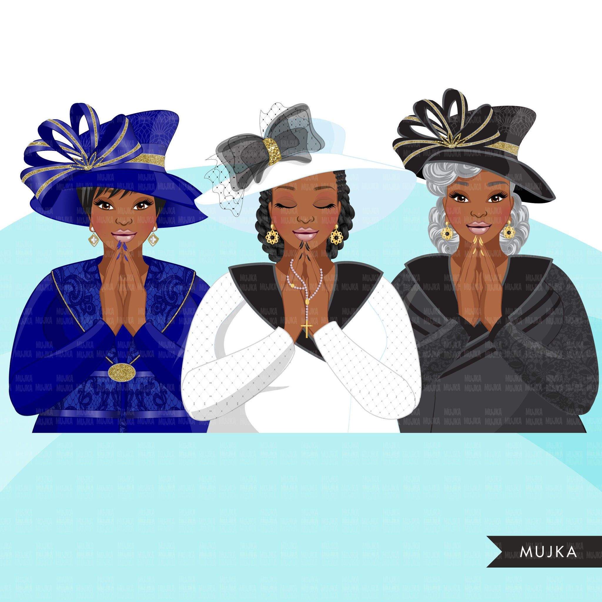 Church ladies clipart, 3 praying sisters sublimation designs, black curvy woman, faith shirt, WAKE PRAY SLAY graphics, Bible religious png