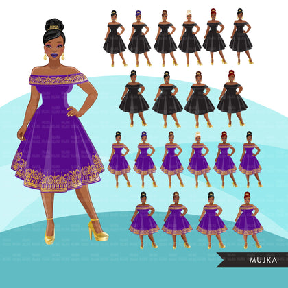 Fashion Clipart, Black woman, gold purple evening gown, sisters, friends, Sublimation designs digital download for Cricut