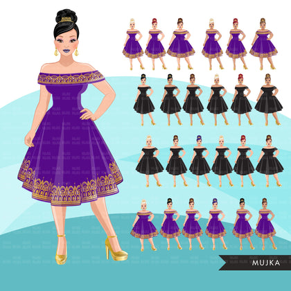 Fashion Clipart, woman, anniversary party, gold purple evening gown, sisters, friends, Sublimation designs digital download for Cricut