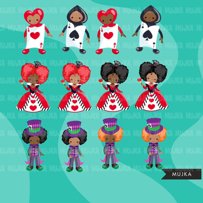 Alice in Wonderland Clipart, afro Mad Hatter Tea Party clipart, African American queen of hearts, sublimation designs Png, files for cricut