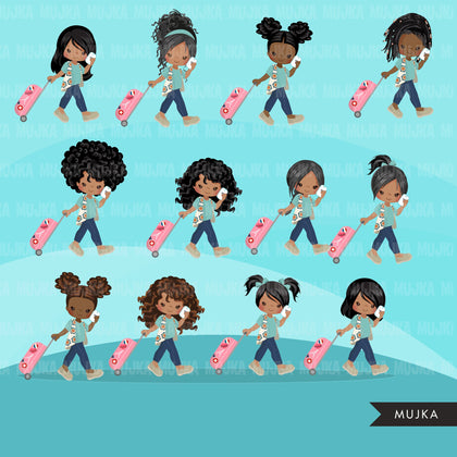 Travel clipart, vacation sublimation designs digital download, passport girls, black girls with suitcase, png holiday graphics