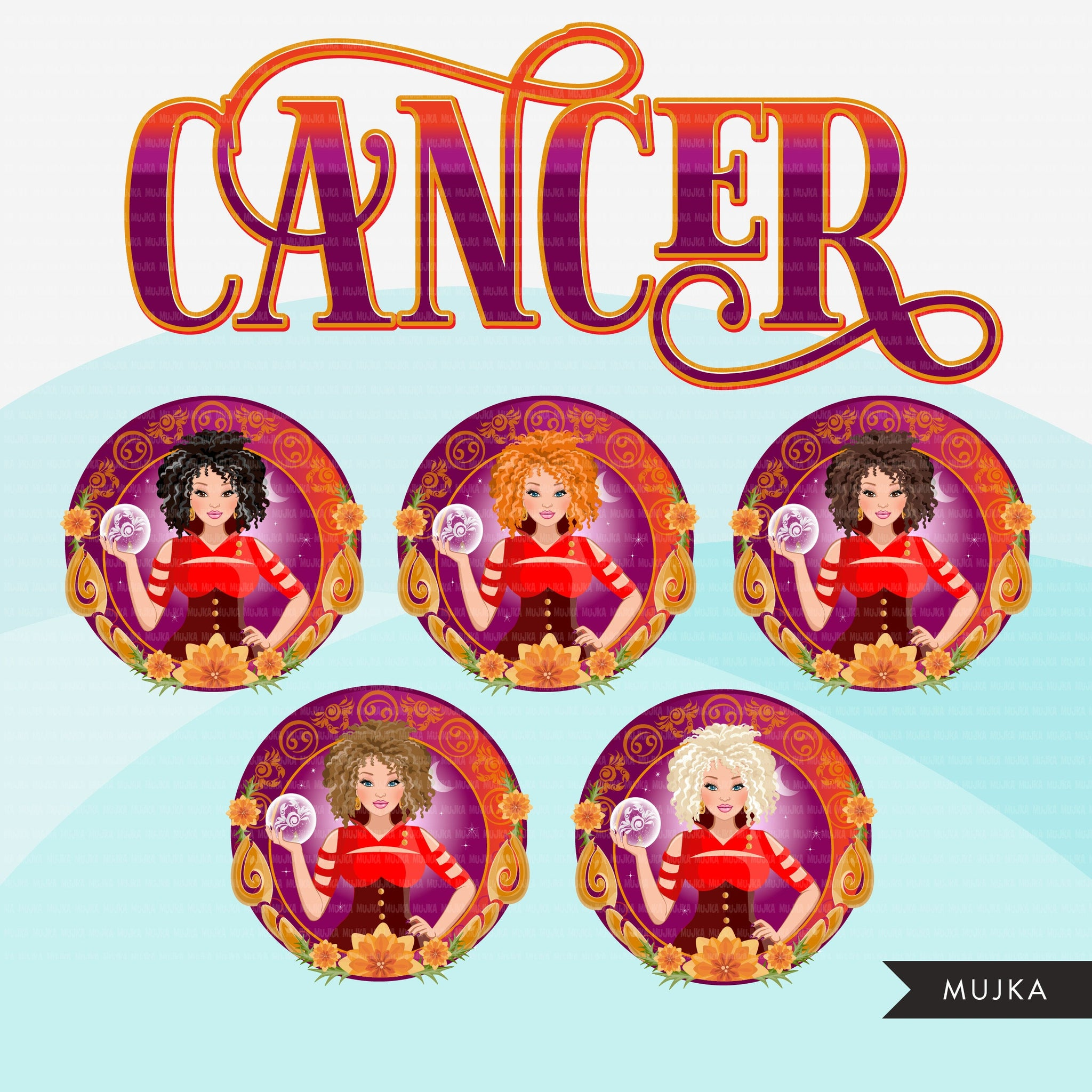 Zodiac Signs, CANCER Clipart BUNDLE, Astrology designs, Horoscope graphics, sublimation designs digital download,  Png for Cricut & Cameo