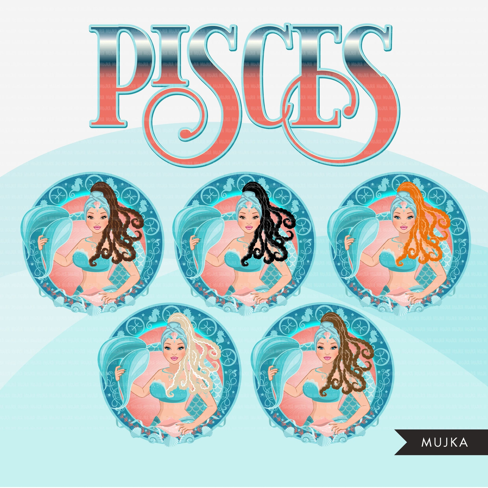 Zodiac Sign, PISCES Clipart BUNDLE, Astrology designs, Horoscope graphics, sublimation designs digital download,  Png for Cricut & Cameo