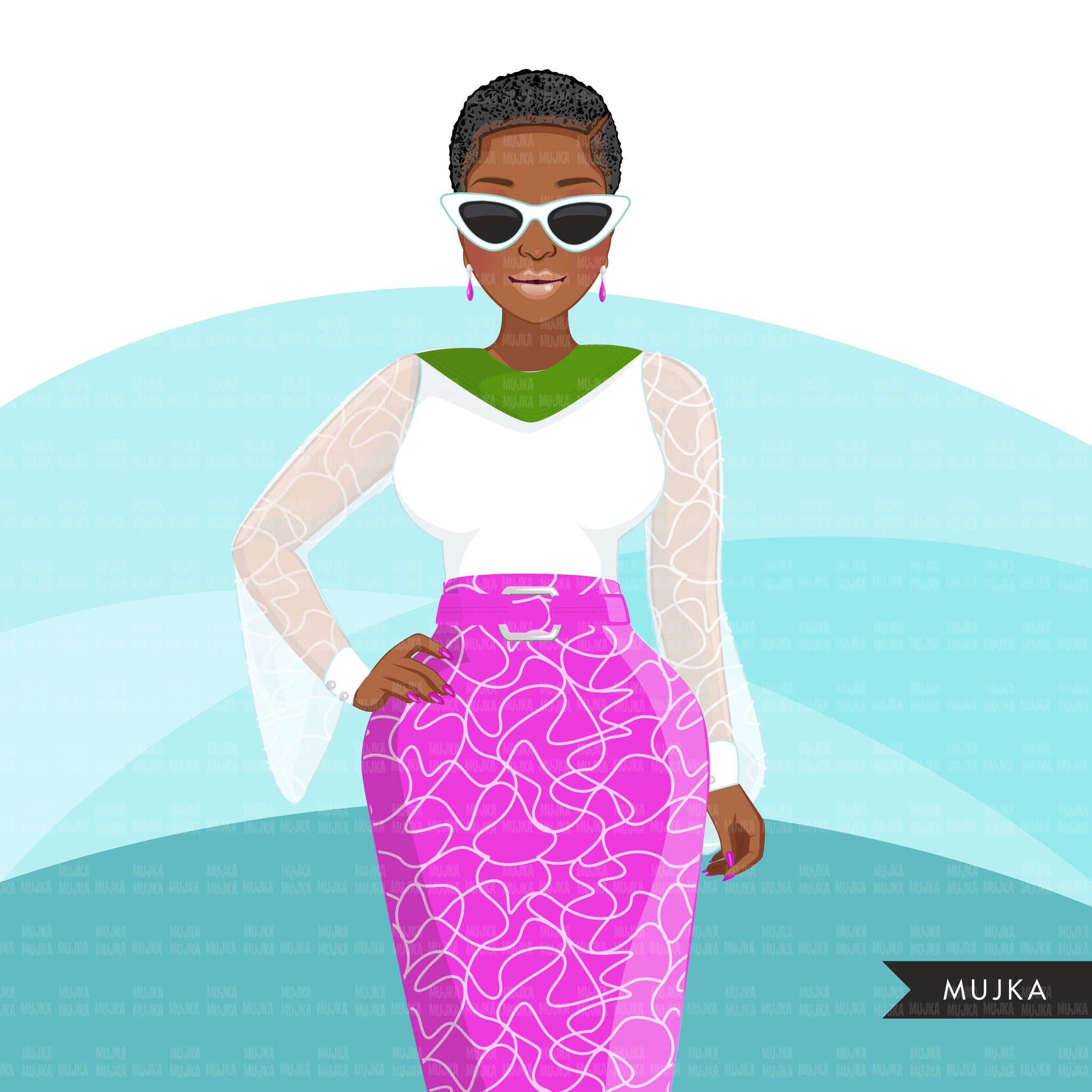 Fashion Clipart, Black woman pink and green dress, sisters, friends, sisterhood Sublimation designs digital download for Cricut