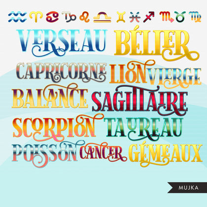Zodiac Signs clipart, Astrology designs, zodiac shirt, Horoscope graphics, sublimation designs digital download, Png for Cricut & Cameo