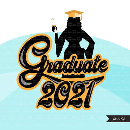 Grad Clipart, Graduation 2021 png, woman grad sublimation designs digital download, class of 2021 png, senior graduate women clip art