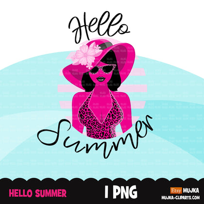 Hello summer clipart, hello summer sublimation designs digital download, pink leopard print png, summer shirt digital download for cricut