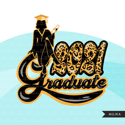 Grad Clipart, Graduation 2021 png, cheetah print grad sublimation designs digital download, class of 2021 png, senior graduate women