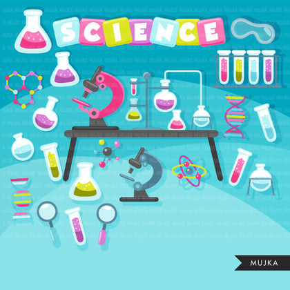 Science clipart bundle, school graphics, laboratory bundle sublimation designs digital download, scientist birthday png, black boy and girl