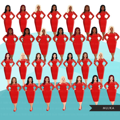 Fashion Clipart, red dress, birthday party, anniversary, curvy sisters, friends, sisterhood Sublimation designs digital download for Cricut