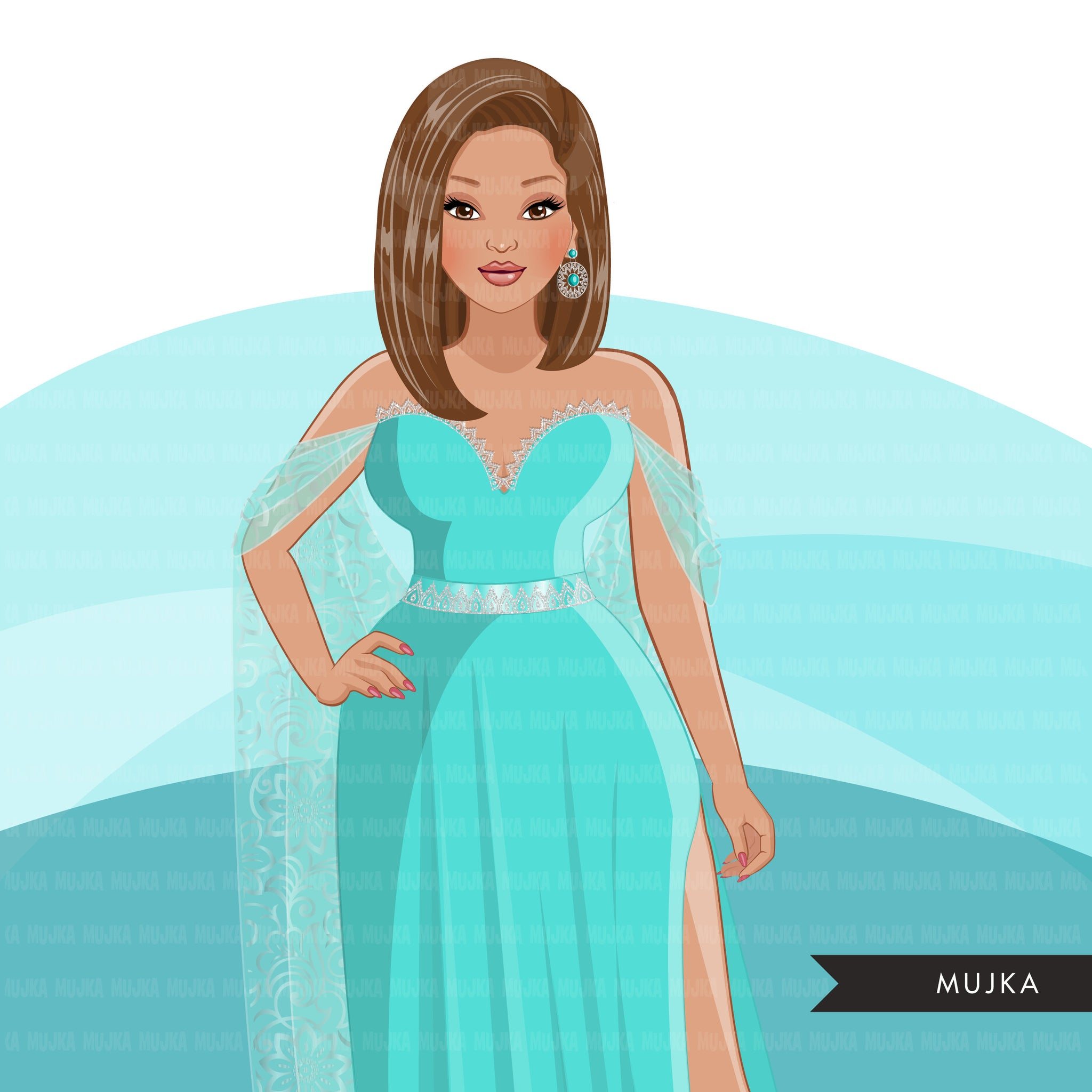 Fashion Clipart, aqua dress, woman designs, sisters, friends, sisterhood Sublimation designs digital download for Cricut