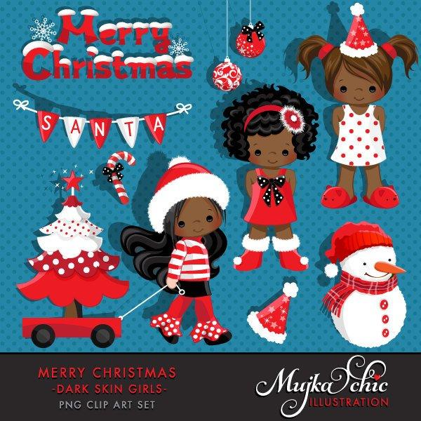 Christmas Clipart Noel Graphics, black Girl