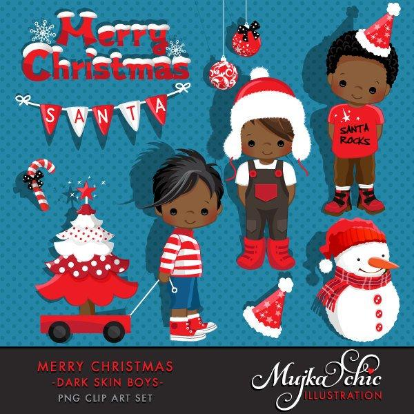Merry Christmas Clipart African American black  Boy