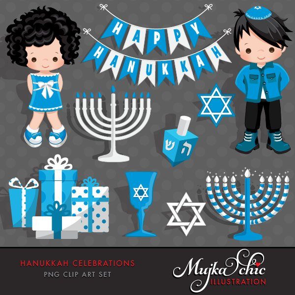 Hanukkah Clipart, girl and boy graphic