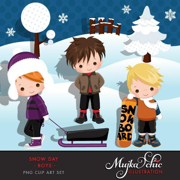 Snow Day Clipart. Boys winter graphics