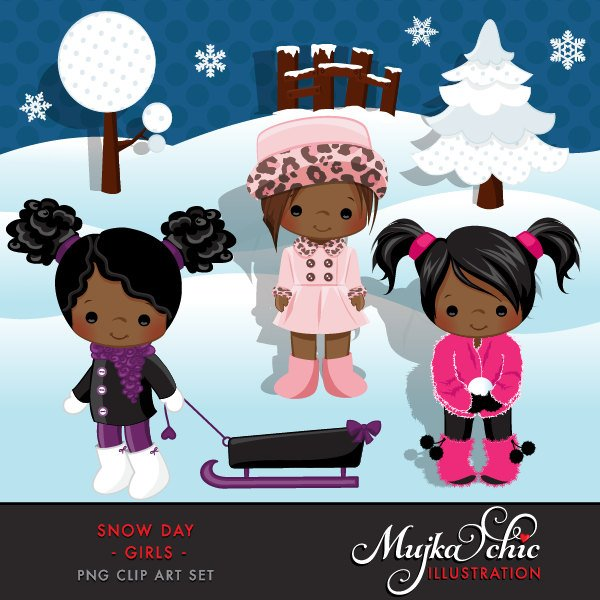 Snow Day Clipart African American Girl in winter clothing
