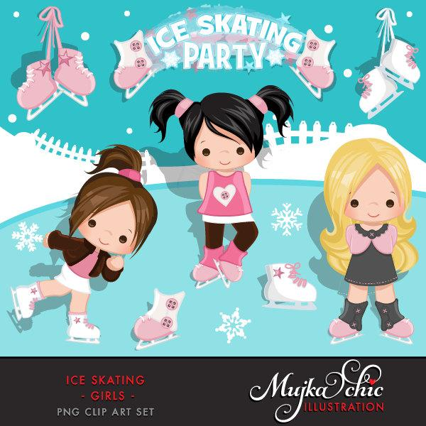 Ice Skating Clipart Winter Outdoor Graphics Girl