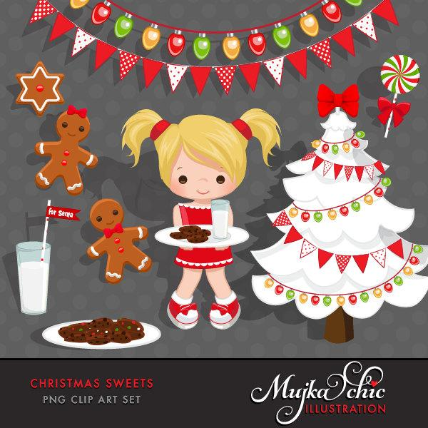 Free Christmas milk and cookies clipart, Little Girl