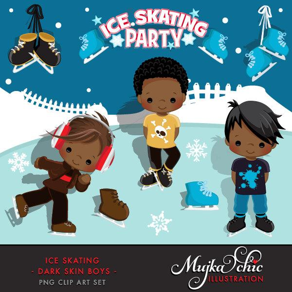 Ice Skating Party black Boy Clipart winter