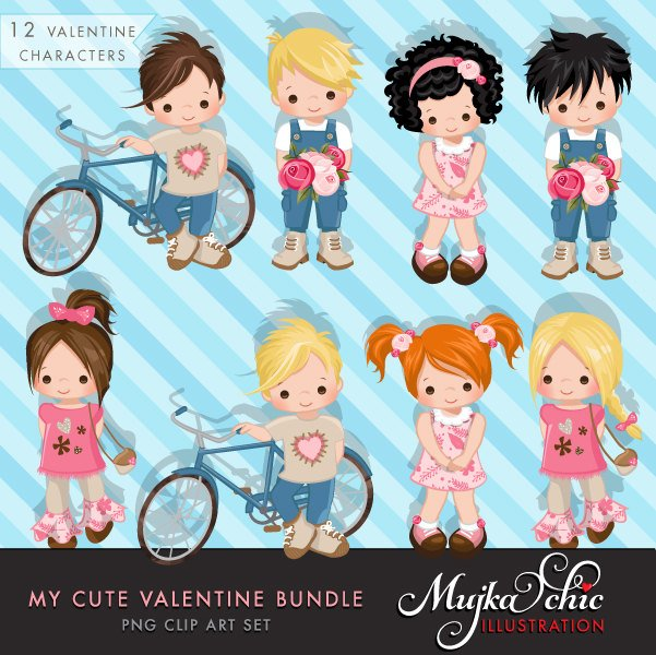 Valentine Clipart and Invitation Bundle with Cute Characters