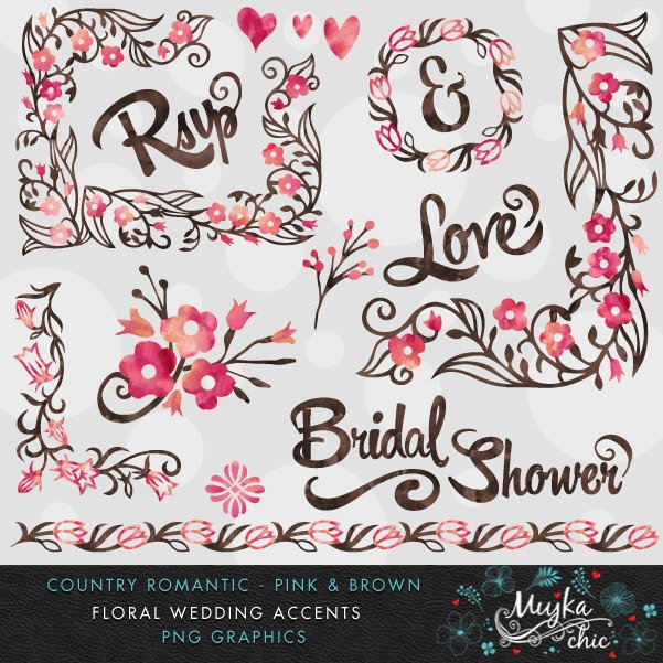 Country Wedding Pink & Brown Florals Clipart