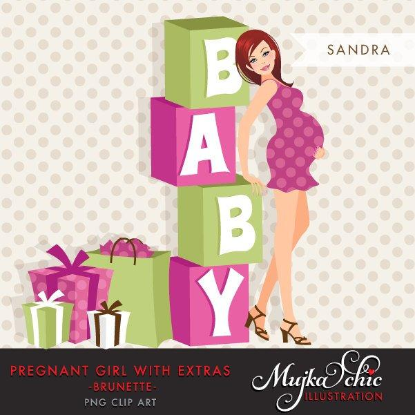 Baby shower Pregnant Woman Character Design with gift boxes and baby wording