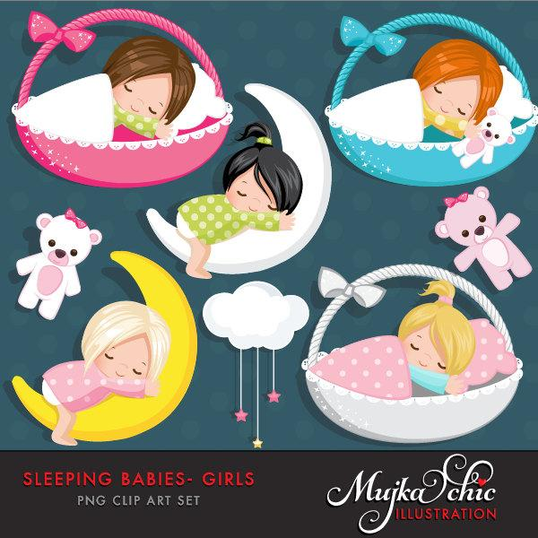 Sleeping Babies in baskets Clipart, baby graphics