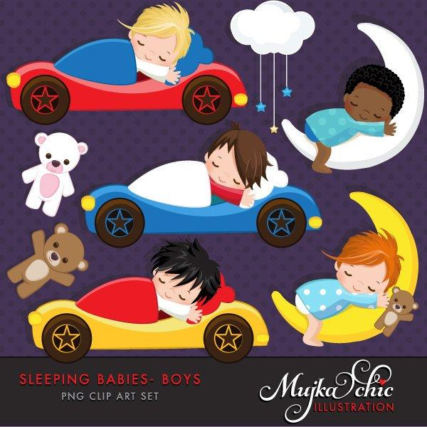 Sleeping Babies in car beds, baby clipart