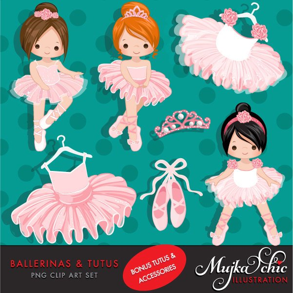 Pink Ballerina Clipart, Cute pink tutu girls