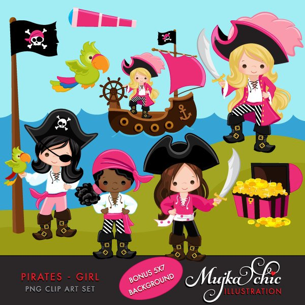 Pirate Clipart Pink girl treasure island