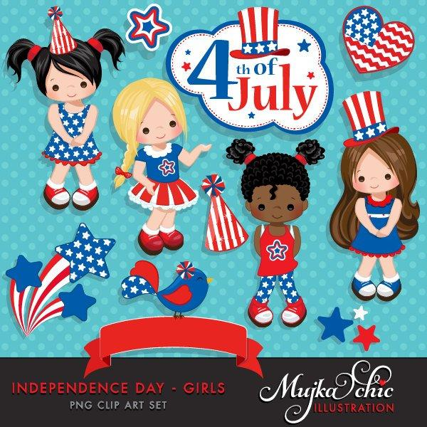 4th of July, Independence Day Girls Clipart